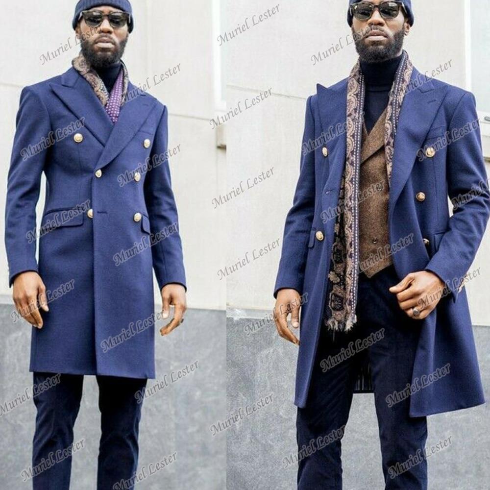 سترة رجالي زرقاء خريفية/شتوية مصنوعة حسب الطلب معطف طويل بتنفس مزدوج سترة ضيقة من الصوف مزيج من الخندق وسترة خارجية