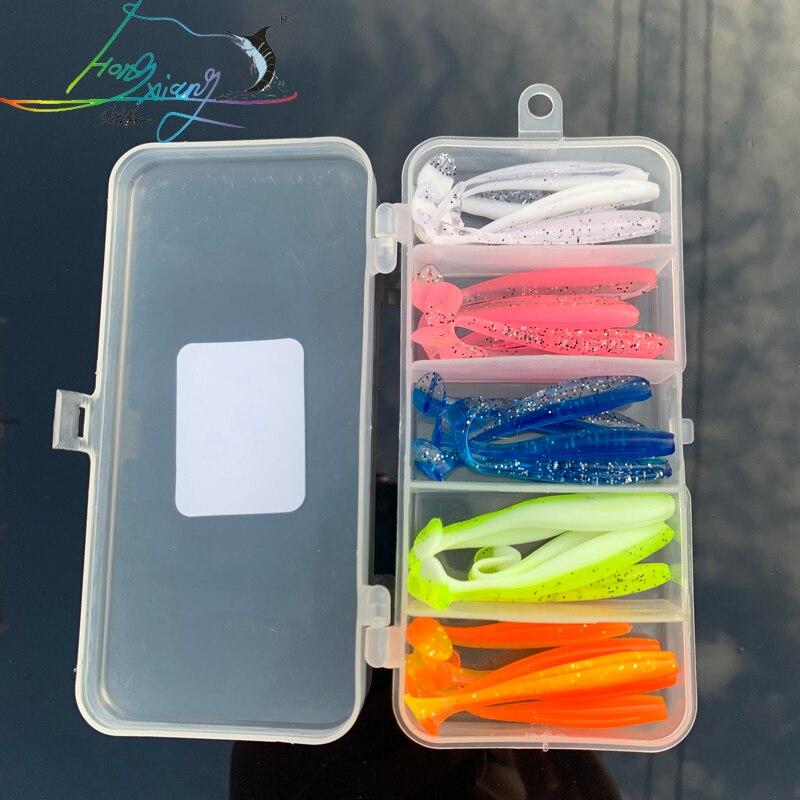 50ps Jigging Wobblers Señuelos de Pesca de 60mm y 1,2G Shad T-cola cebo blando Aritificial de silicona señuelos bajo aparejo de pesca de Lucio