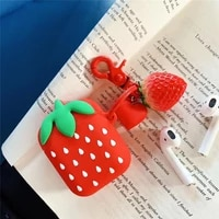 for airpods case3d cartoon cute strawberry case for airpods 12 case soft silicone earphone cover for apple airpods for kids