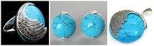 Vintage azul turquesa 925 prata esterlina marcasite anel (#7-10) pingente e brincos conjuntos 04