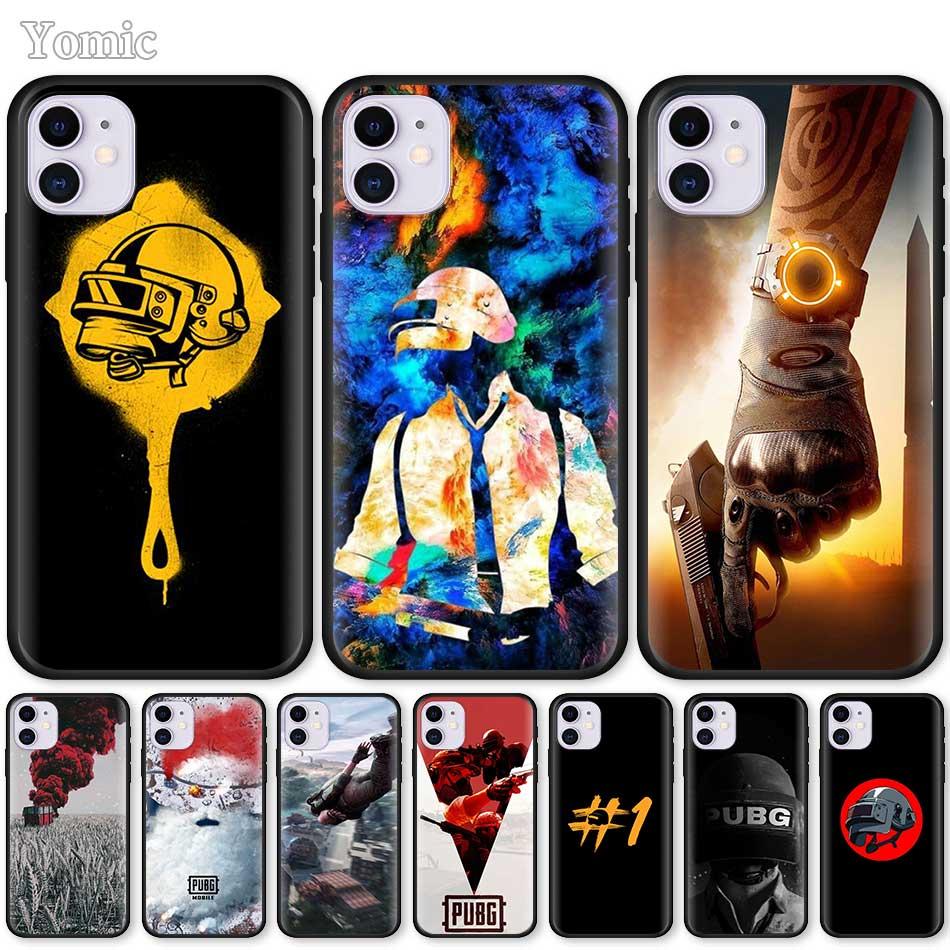 Funda blanda de TPU para Apple iPhone 7 11 Pro XR 6 X XS MAX 6S 8 Plus 5 5S SE 2020, funda negra para teléfono Pubg