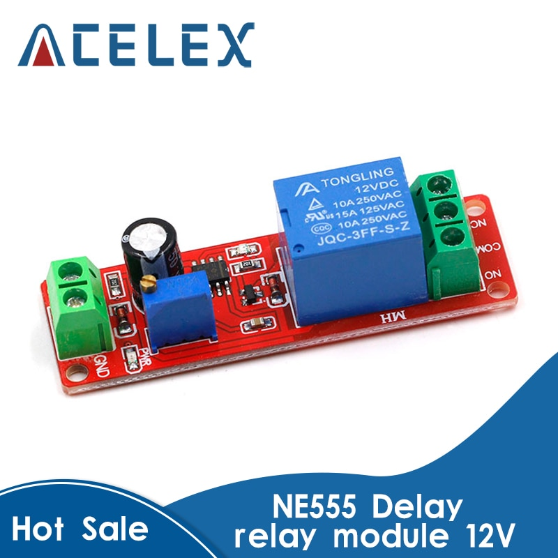 DC 12V Timer Delay Relay Shield Module NE555 Timer Switch Adjustable Controller Module 0 to 10 Secon