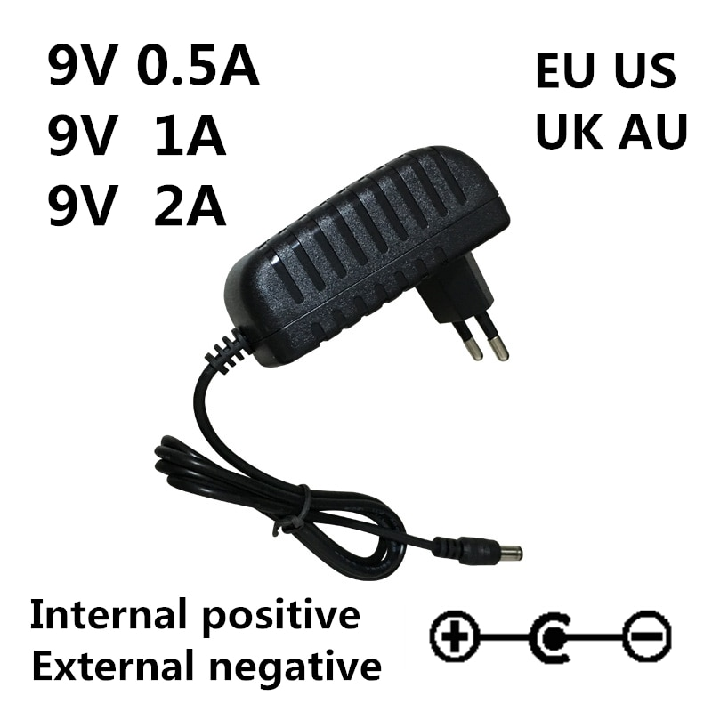 AC 100-240V DC 9V 0.5A 1A 2A Electric Guitar Stompbox Power Supply Adapter charger 9 V Volt For Guit