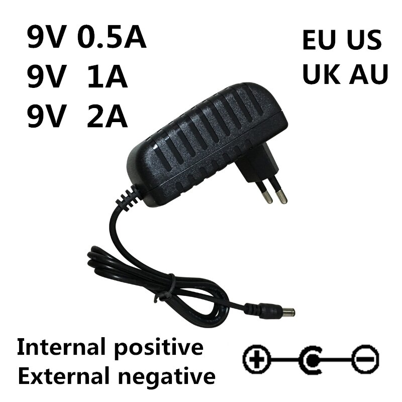 AC 100-240V CC 9 V 0.5A 1A 2A guitarra eléctrica Stompbox fuente de alimentación adaptador cargador 9 V Volt para guitarra partes efecto Pedal Board