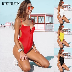 2020 New Sexy V Splice Monokini Women Solid Color Swimsuit Backless Halter Swimwear S-XL Girl Low Cut Back One Piece Suit
