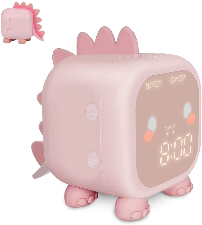 Kids Alarm Clock, Digital Alarm Clock for Kids Bedroom, Cute Dinosaur Bedside Clock Children's Sleep Trainier, Wake Up Light &