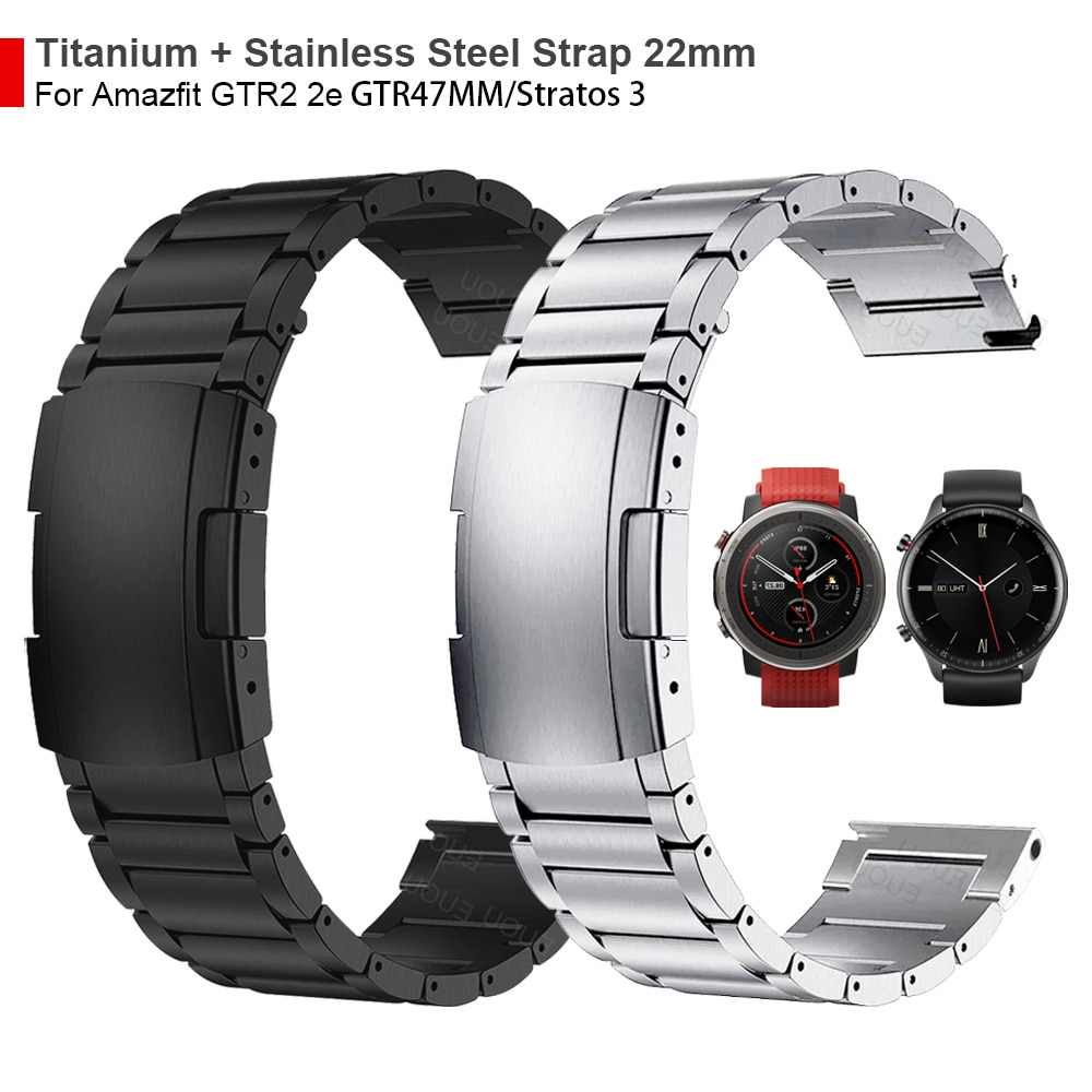 ل Huami Amazfit GTR 2 2e/GTR 22 مللي متر التيتانيوم + المعادن الصلب المشبك حزام 47 مللي متر/ستراتوس 3 حزام (استيك) ساعة معصمه سوار مربط الساعة