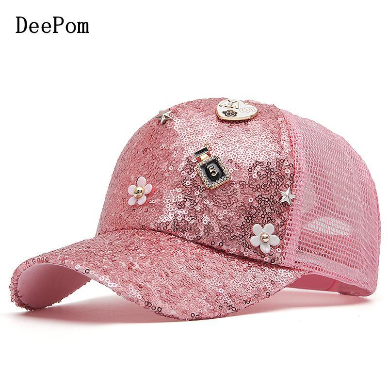 Кепка-бейсболка DeePom женская, сетчатая бейсболка с блестками, летняя