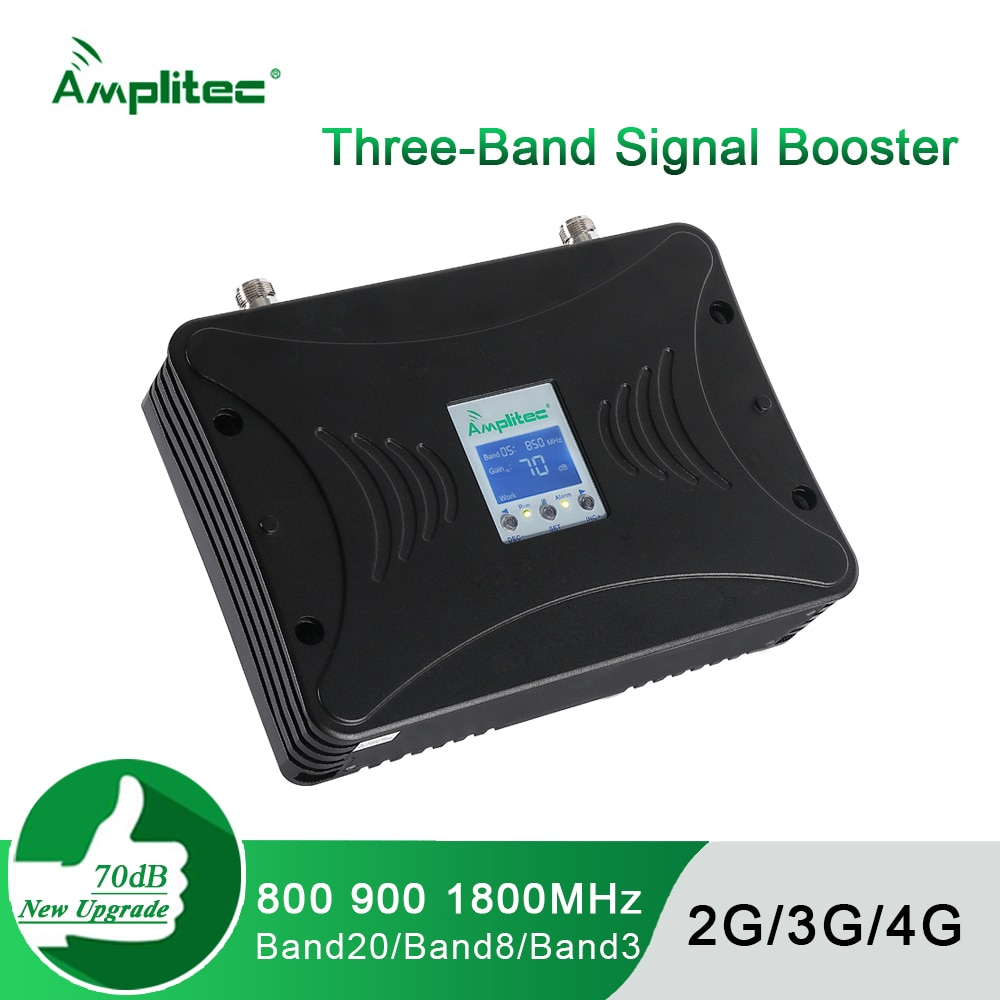 GSM Repeater 2G 3G 4G Smart Signal Booster Three-Band Mobile Signal LTE Cellular Amplifier 800/900/1800MHz Kits for EU Countries