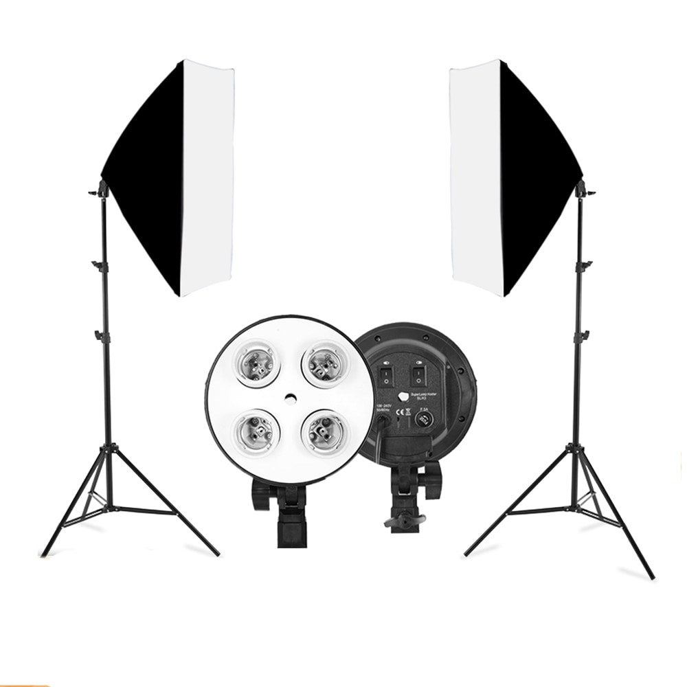 Софтбокс, светильник, штатив, светильник, комплект, 4 лампы, фотовспышка для фотосъемки, 50x70 см, E27, базовый держатель, камера для фотосъемки, в...