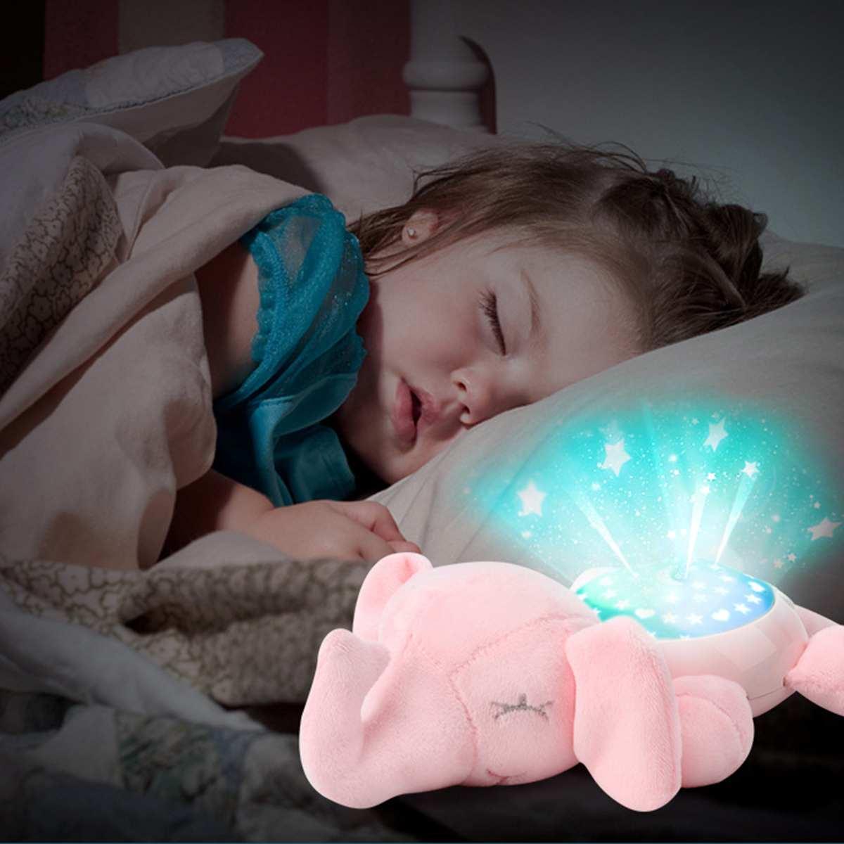 Luz Led de noche estrellas proyector juguetes para bebés para niños dormir con luz colorida luminosa música Animal lámpara de peluche juguete Regalo De chico