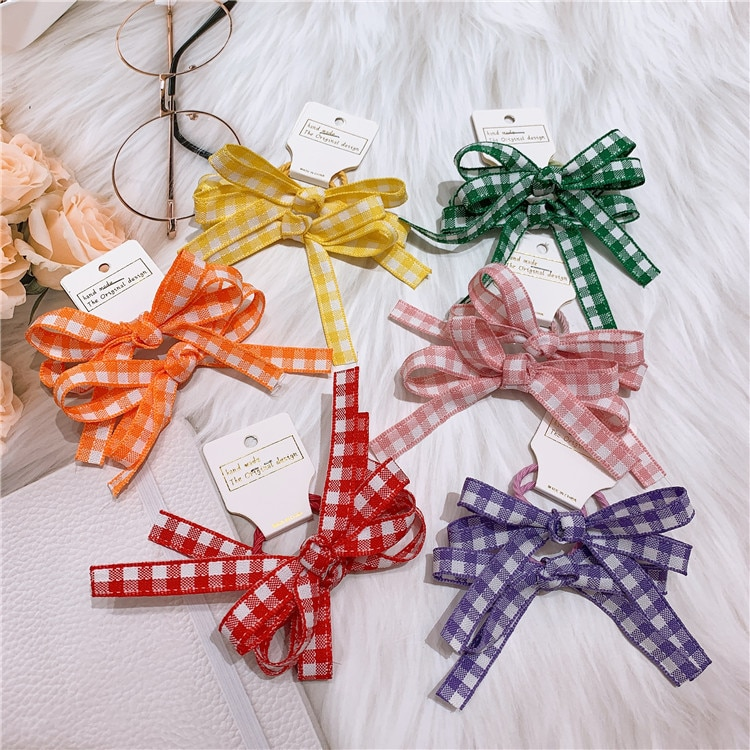 Lovely Plaid Bow Elastic Hair Bands Baby Girls Hair Accessories Kids Cute Hair Wear Girl Dance Stage