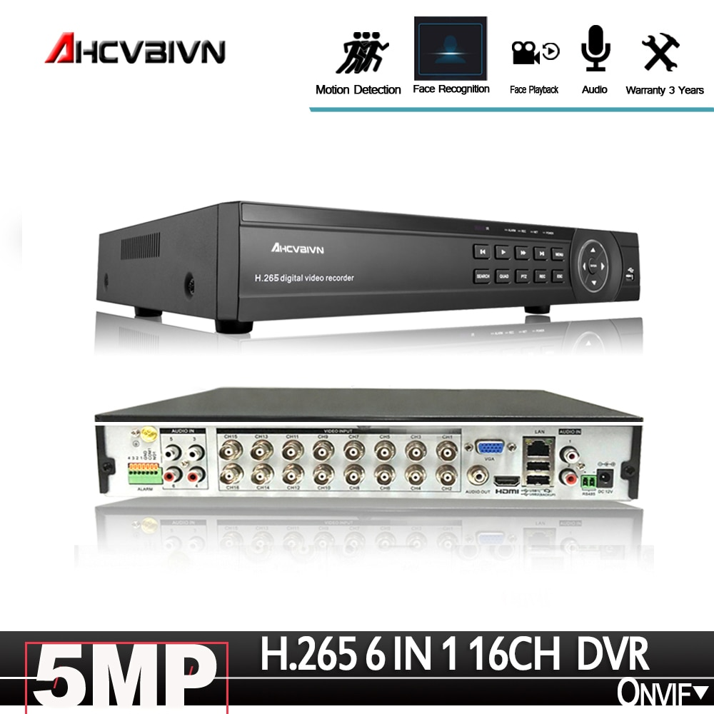 Распознавание лица 16CH CCTV DVR система безопасности 5.0MP H.265 hd-выход P2P гибридная 6 в 1 Onvif ip-камера XVI AHD видео рекордер