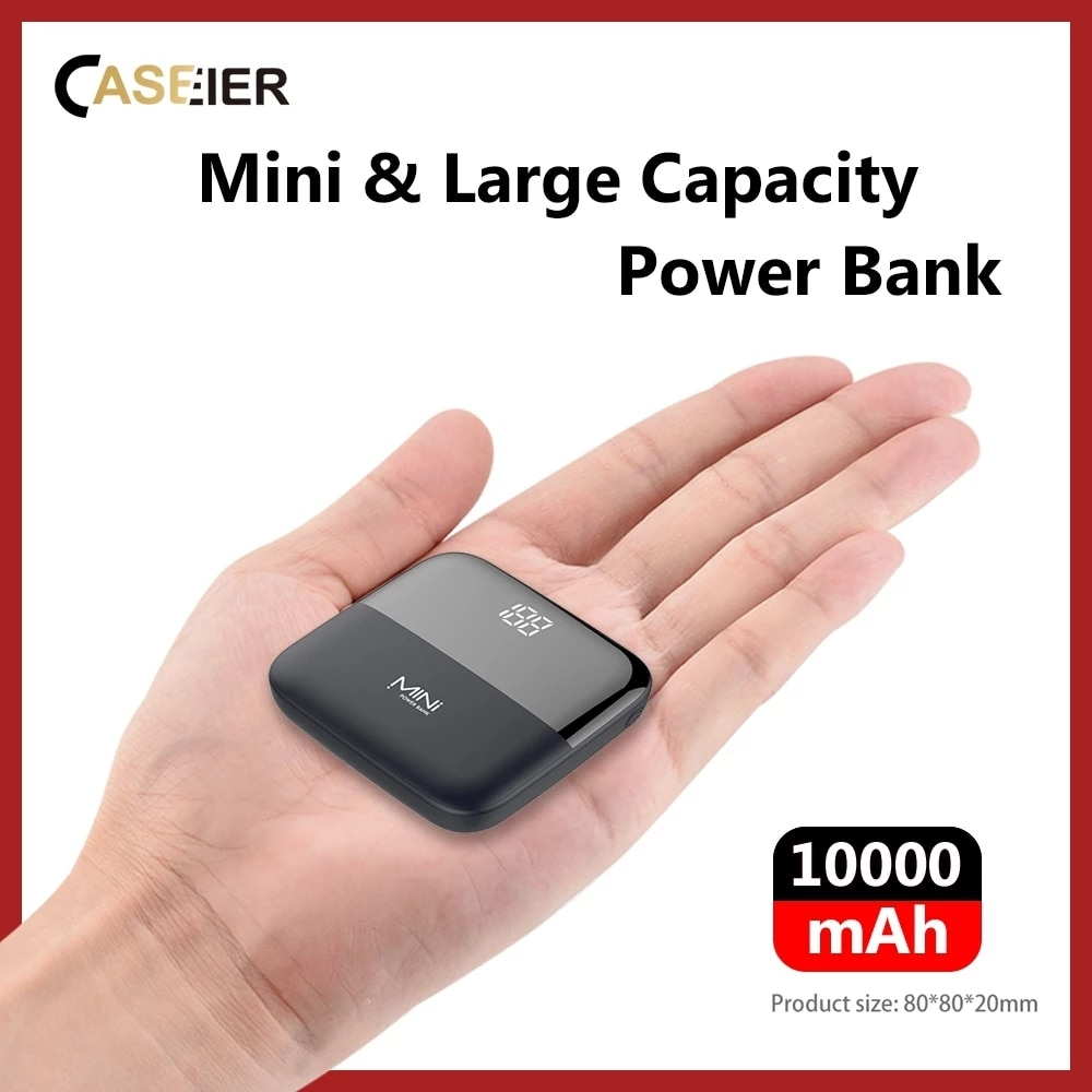 CASEIER 10000 mAh باور بانك صغير بطارية خارجية Powerbank للهاتف الذكي شاومي 10000 mAh شاحن محمول