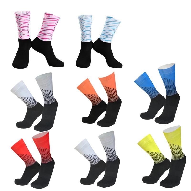 Calcetines de verano para ciclismo o equipo Aero, Calcetines antideslizantes de silicona sin costuras para ciclismo de carretera, calcetines deportivos de compresión para bicicleta de carreras