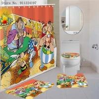 asterix shower curtain set with bath rug mats cartoon comics bathroom decor pedestal rug lid carpet toilet cover