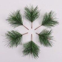 10-50 verde Artificial plantas de simulación de plástico aguja de pino rama DIY decoración de pared de flores césped de agua Artificial de aguja de pino a casa