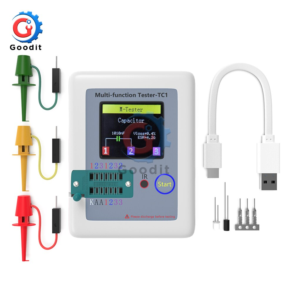 "LCR-TC1 3,5 ""160*128 pantalla TFT LCD multímetro diodo triodo capacitancia medidor Resistor gráfico PNP Transistor NPN Tester"