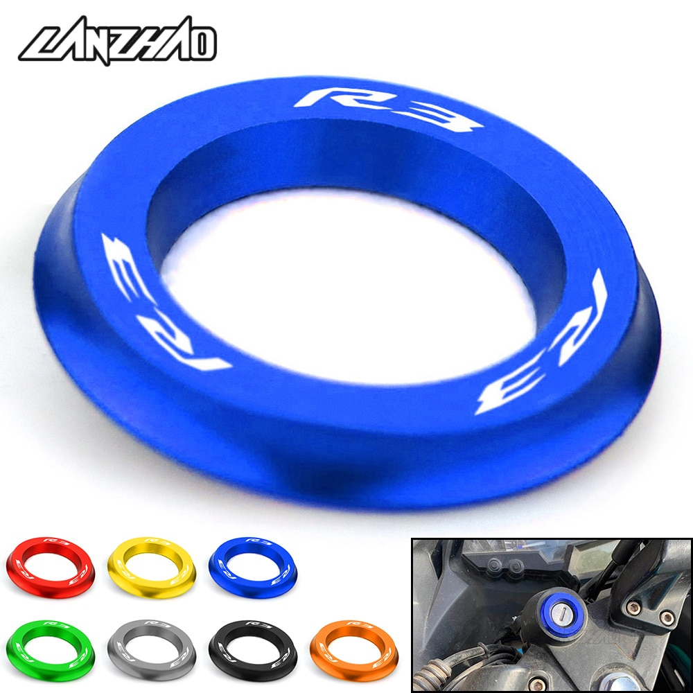 luminous ignition switch cover key aluminum alloy switch decoration ring motorcycle car styling interior accessories promotion R3 Motorcycle Ignition Switch Cover Ring CNC Aluminum Accessories for Yamaha YZF R3 2013 2014 2015 2016 2017 2018 2019