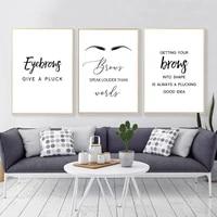 Affiches de maquillage et imprimes de sourcils a la mode  affiche dart mural  noir  blanc  image anglaise  decoration de chambre a coucher  decor de maison HD2736