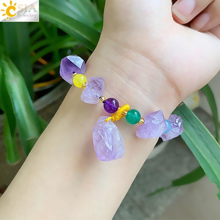 CSJA piedra púrpura Natural pulseras de cristal de Reiki Irregular frío cuentas de joyería de verano Strand pulsera del encanto para las mujeres las niñas G521