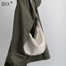 [BXX] solide couleur toile Crossbody Dumplings sacs pour femmes 2020 Simple décontracté messager sac à bandoulière femme sacs à main HK126
