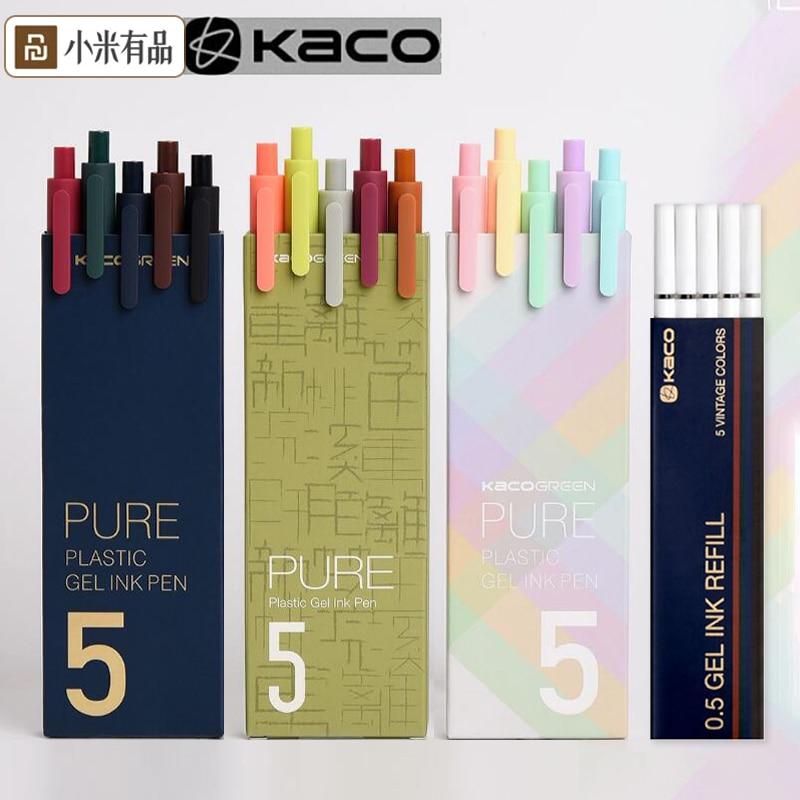 5 unids/pack Youpin KACO firmar pluma Cololful 0,5mm Color de la pluma de tinta de bolígrafo KACOGREEN Durable firma pluma de plástico ABS tinta lisa