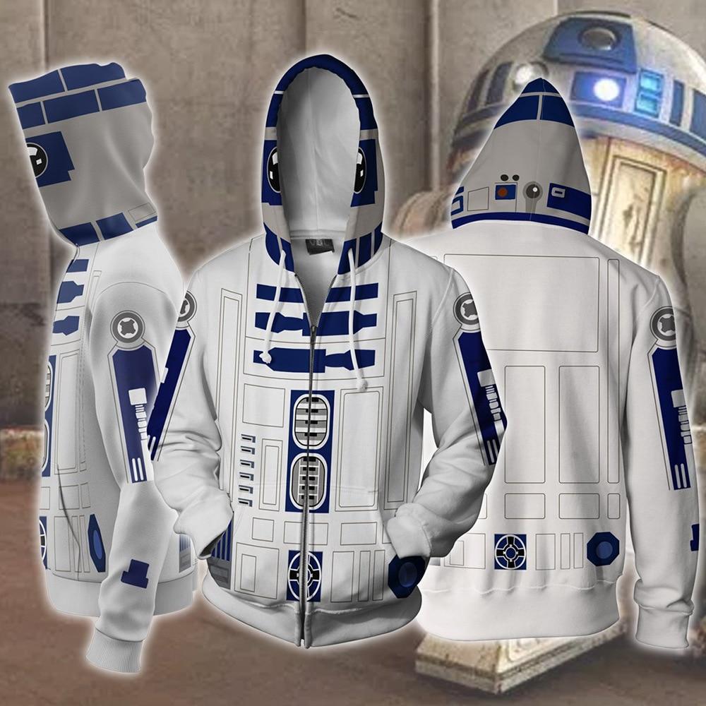 R2-D2 Robot Hoodies Robot Sweatshirts R2-D2 Cosplay Costume Darth Vader Storm Trooper Zipper Jacket Men Women Top