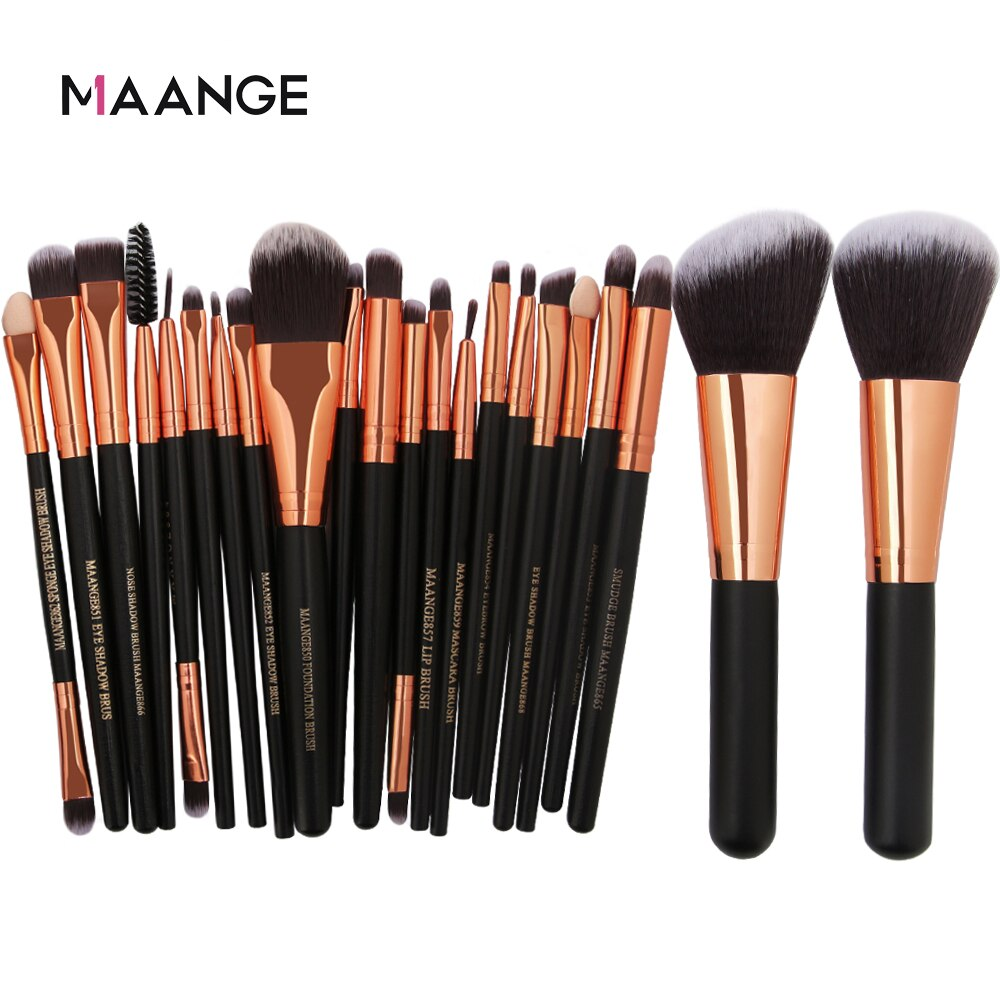 22pcs MAANGE Beauty Makeup Brushes Set Cosmetic Foundation Powder Blush Eye Shadow Lip Blend Make Up Brush Tool Kit