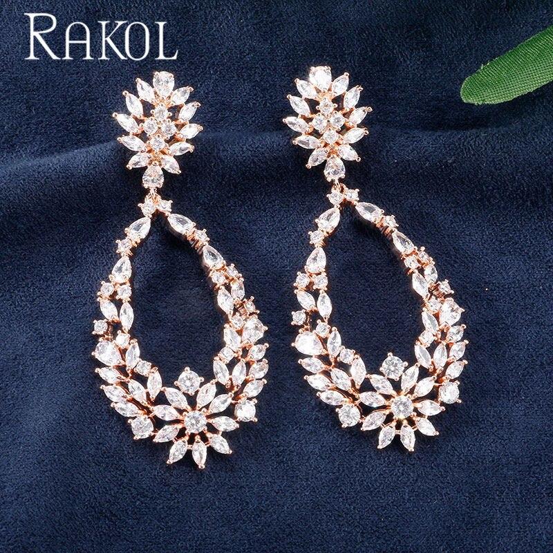 RAKOL Ladies New Creative Exquisite Water Drop Cubic Zircon Dangle Earrings Bride Party Dress Jewelry Accessories RE02123K