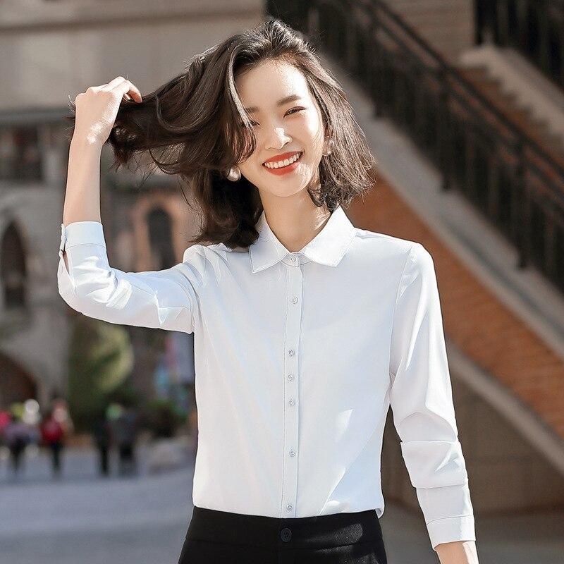 Gdx2039 Женская белая рубашка с длинным рукавом 2020 установка метр Xiaozhong иностранный стиль шифоновая рубашка