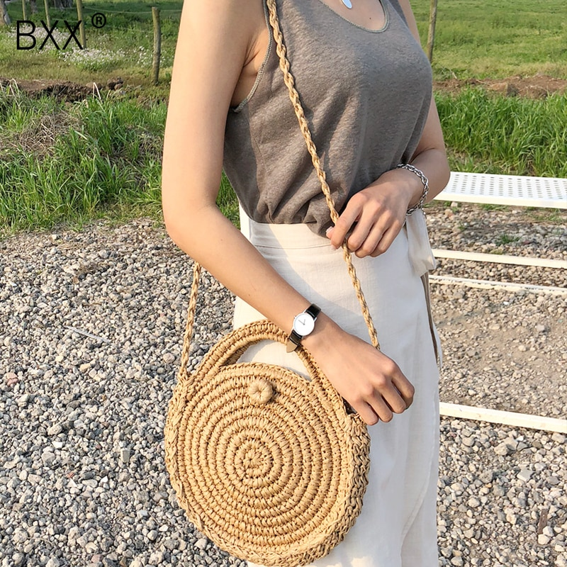 [BXX] Handmade Woven Round Handbag 2021 Spring Summer Vintage Straw Rope Knitted Messenger Bag Lady Bag Summer Beach Totes HK808