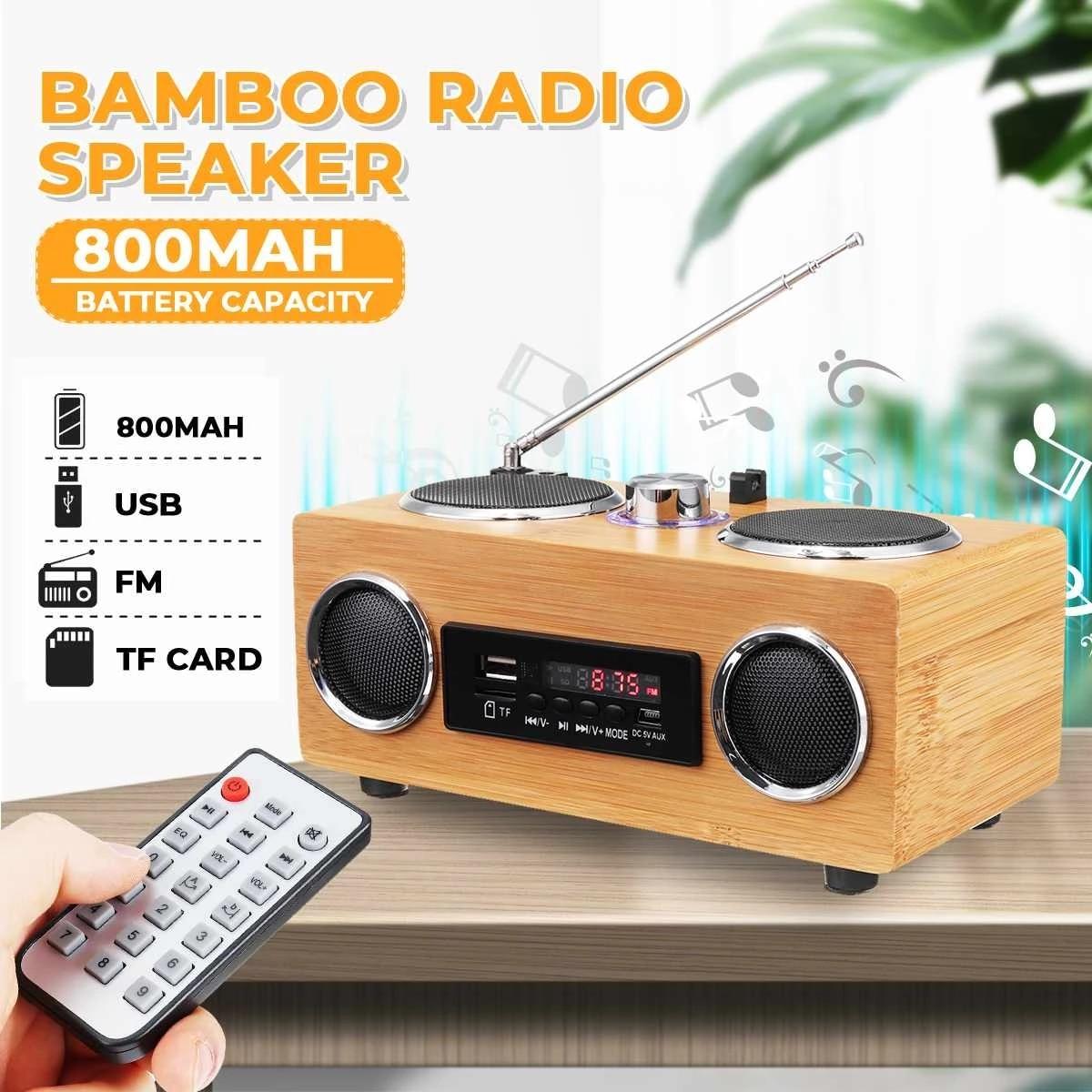 خشبية ريترو سماعة لاسلكية تعمل بالبلوتوث المتكلم راديو مضخم صوت ستيريو المنزل الصوت العمود مركز الموسيقى USB/TF/FM متعدد الوظائف المتكلم