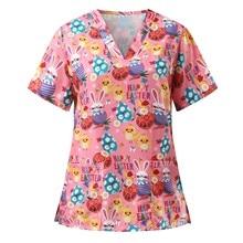Cartoon Animal Print Nursing Uniform Women Scrubs Tops T Shirt Short Sleeve Nurse V-neck Pocket Blou