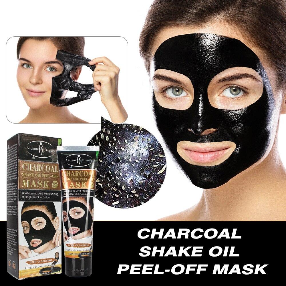 Carvão vegetal cobra óleo lama blackhead remover máscaras faciais limpeza profunda purificação casca fora preto nud facail máscaras faciais
