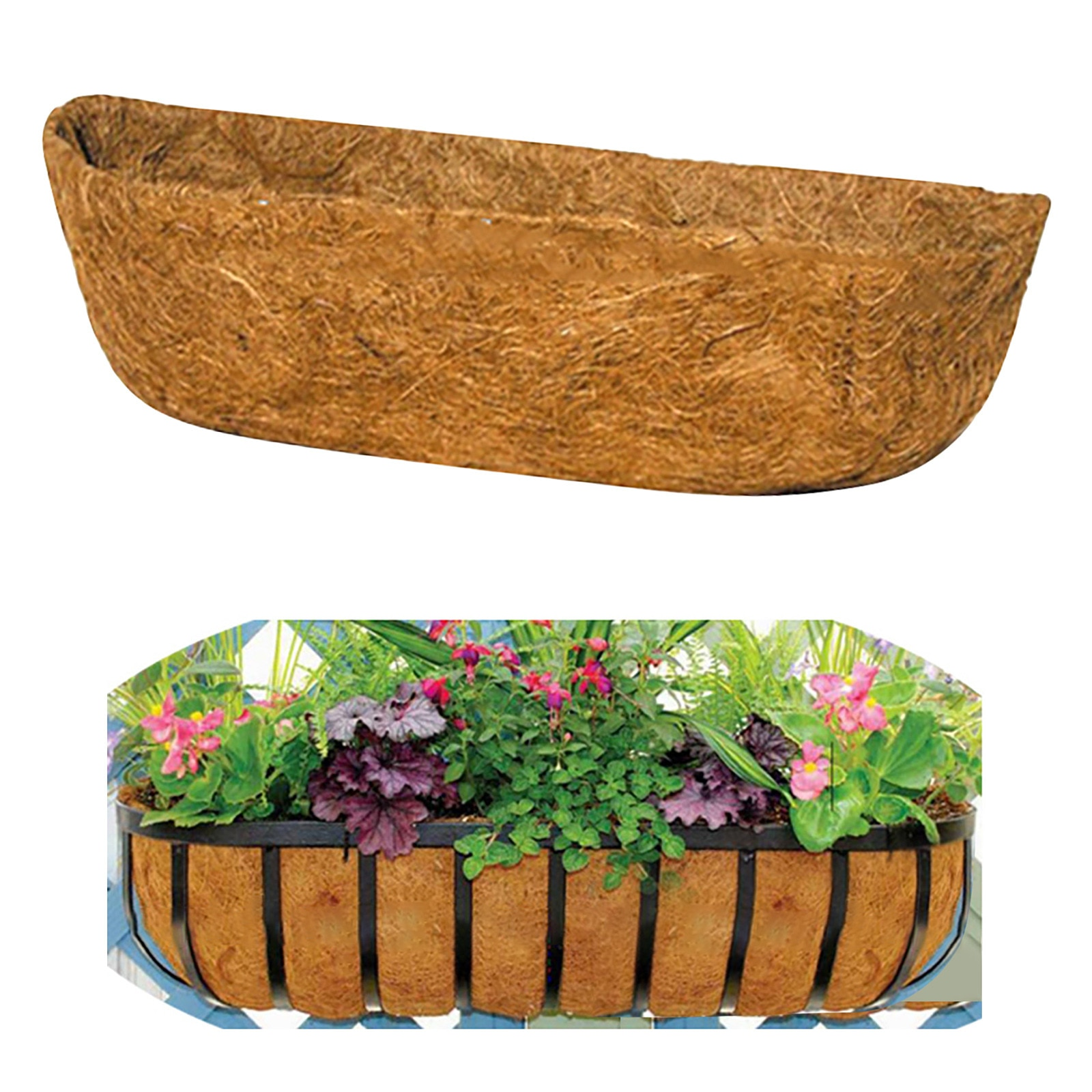 Flower Pot Natural Coconut Fiber Trough Planter Liner For Window Box Family Garden Wedding Decoration Flower Basket Decor