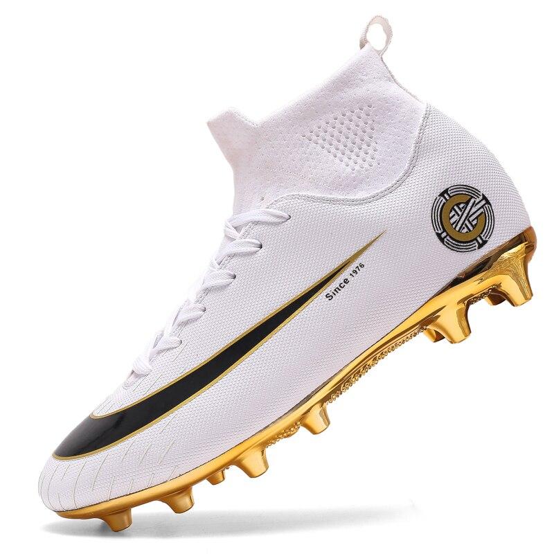Botas de futebol dos homens de ouro branco alto tornozelo sapato de futebol feminino macio groud homem sapatos de futebol botas de futbol meias de treinamento