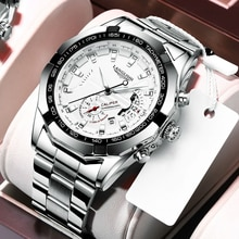 LANGLISHI 2020 New Watches Men Luxury Brand Chronograph Male Sport Watches Waterproof Stainless Stee