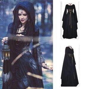 High Quality Fashion Vintage Women Medieval Dress Bandage Slim Retro Irregular Gothic Ladies Dress Cosplay Dress Long Gown Dress