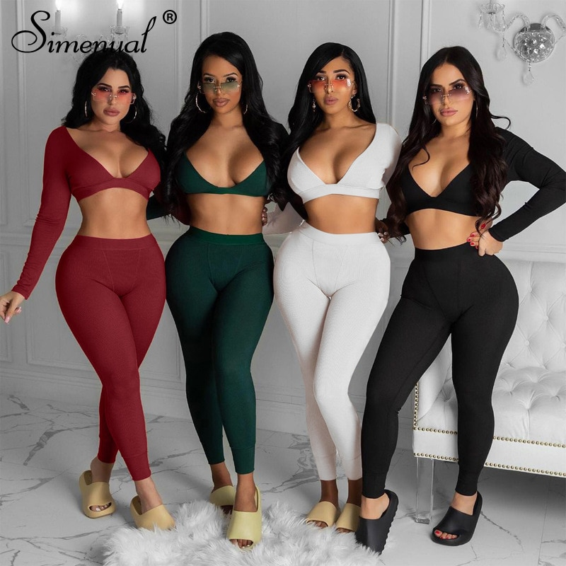 Simenual V Neck Solid Casual Matching Sets Women Long Sleeve Crop Top And Leggings 2 Piece Outfits Workout Ribbed Skinny PJ Set simenual knitted ribbed bandage patchwork two piece sets women long sleeve v neck club tie front outfits crop top and pants set