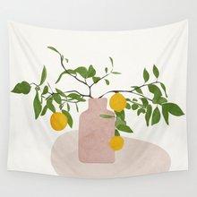 Tapiz de ramas de limón para colgar en la pared, Alfombra de playa, manta, tienda de campaña, tapiz de viaje para dormir