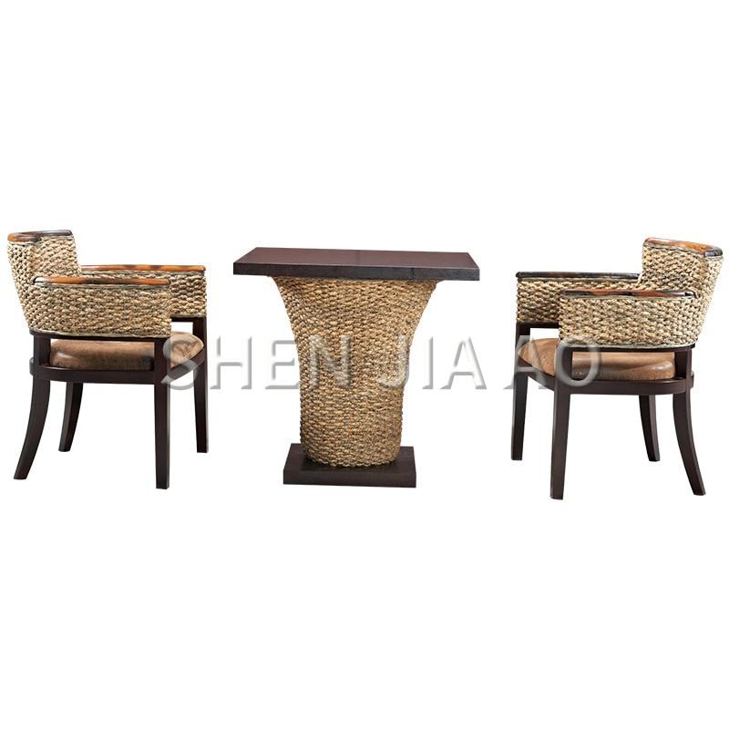 1PC Rattan Handrail Lounge Chair Single Position Balcony Rattan Tea Chair Hotel Rattan Furniture Hand-woven Chair