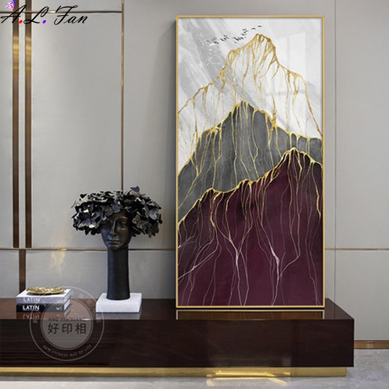 Modern Abstract Landscape Picture Home Decor Canvas Painting Wall Art Prints and Posters Marble Texture Gold Mountain