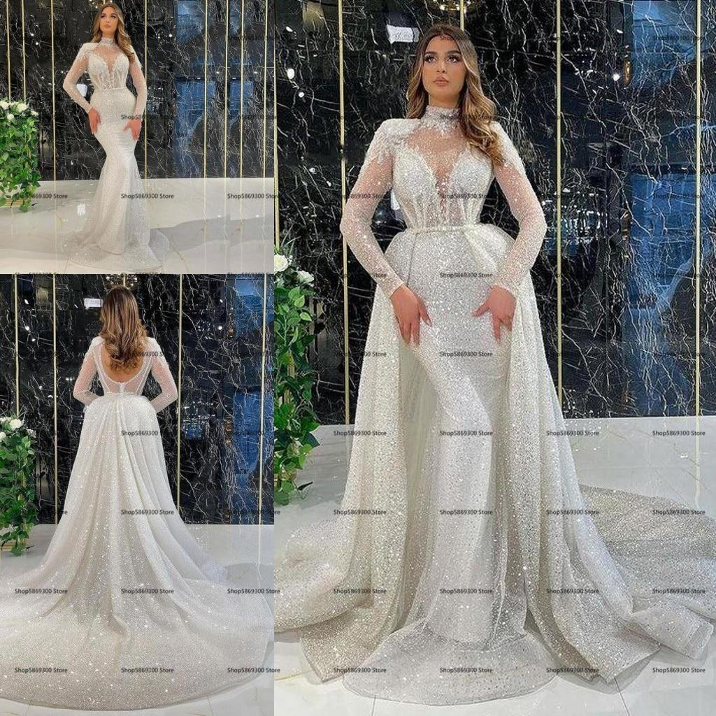 فستان زفاف بحورية البحر بأكمام طويلة مع ذيل قابل للانفصال 2022 دانتيل مطرز برقبة عالية بدون ظهر فستان زفاف Vestido