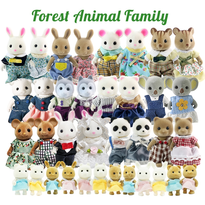 10/14/18pcs Forest Family Doll Set 1/12 Miniature Pretend Play Toy Child Simulation 1:12 Rabbit Koala Bear Dolls For Girl's TOY