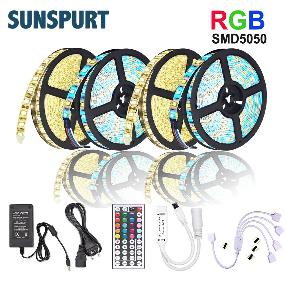 5M 10M 15M 20M tira de luz led RGB SMD 5050 2835 diodo de cinta Flexible DC12V + IR Control Remoto + adaptador para el hogar Cocina Navidad