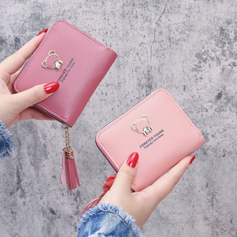 Zipper Short Card Holder Ladies Coin Purse Pu Leather Cartoon Red Color Credit Card Minimalist Wallet Fashion Coin Purse