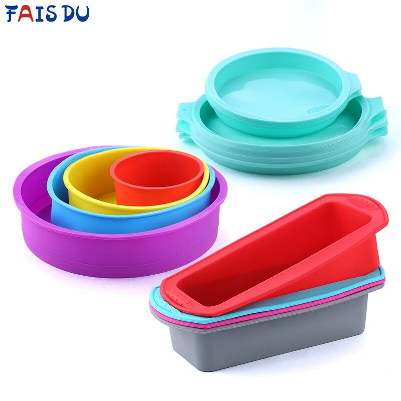 Molde de silicona en capas para Tartas, molde Rectangular de silicona para Pan, Pan, bandeja, molde para Tartas, herramientas antiadherentes para hornear