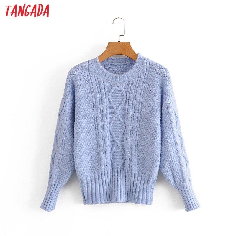 Tangada 2020 Otoño Invierno chic Mujer vintage twist suéter vintage señoras sólido de punto jumper tops 3A363