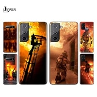 fire fighting hero silicone cover for samsung galaxy s21 s20 fe ultra s10 s10e lite s9 s8 s7 plus phone case